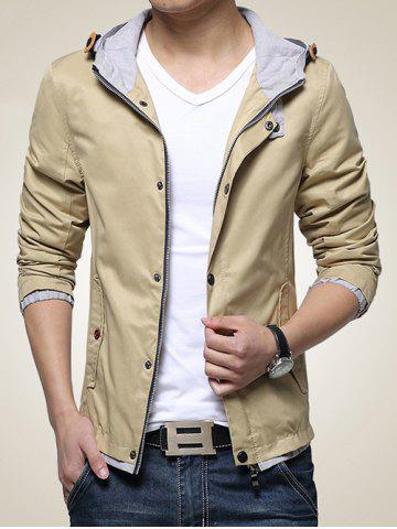 Latest Hooded Drawstring Embellished Zip-Up Jacket
