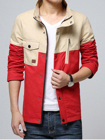 Cheap Stand Collar Color Block Splicing Design Pocket Zip-Up Jacket