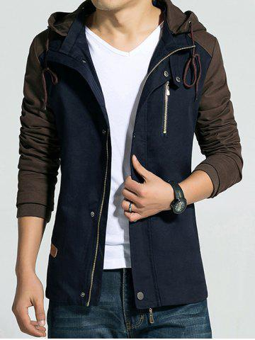 Cheap Hooded Drawstring Color Block Zip-Up Jacket