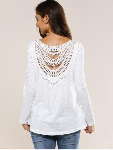 Discount Hollow Out Back Blouse WHITE XL