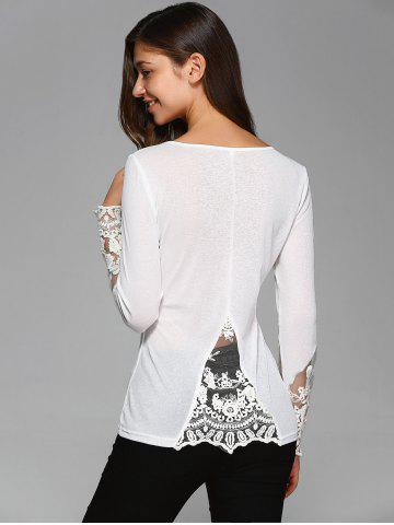 Buy See-Through Sleeve Lace Patchwork Blouse