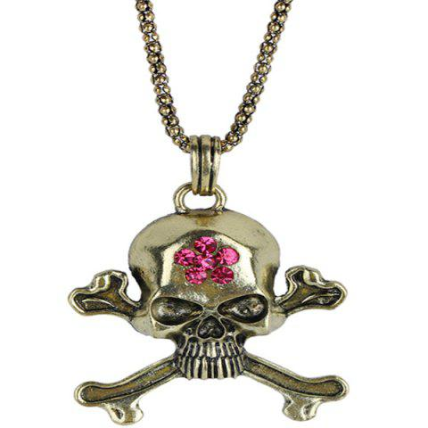 Burnished Rhinestone Floral Skull Necklace - COPPER COLOR