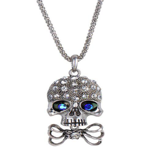 Carved Rhinestone Bowknot Skull Necklace - SILVER