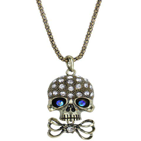 Latest Carved Rhinestone Bowknot Skull Necklace - GOLDEN  Mobile