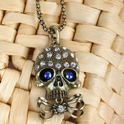 Outfits Carved Rhinestone Bowknot Skull Necklace - GOLDEN  Mobile