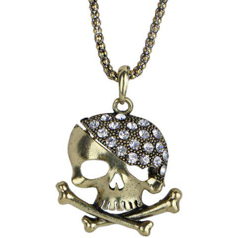 Outfits Rhinestone Sea Poacher Skull Necklace