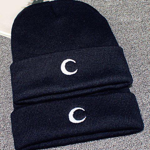 Store Crescent Embroidery Flanging Knitted Beanie - BLACK  Mobile