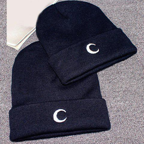 Shop Crescent Embroidery Flanging Knitted Beanie - BLACK  Mobile