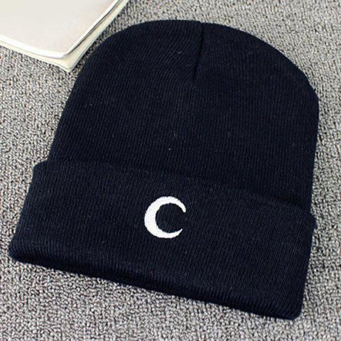 Outfit Crescent Embroidery Flanging Knitted Beanie - BLACK  Mobile