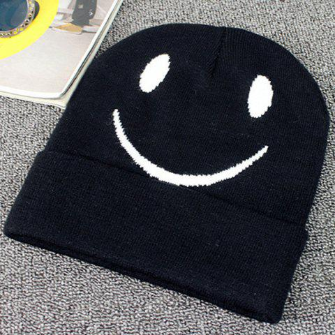 Online Big Smile Face Embroidery Flanging Knitted Beanie BLACK
