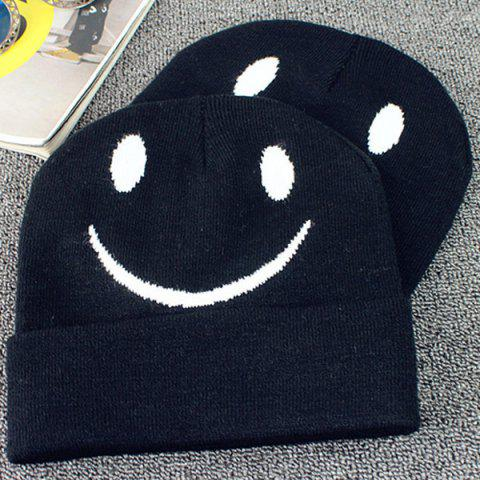 Store Big Smile Face Embroidery Flanging Knitted Beanie - BLACK  Mobile
