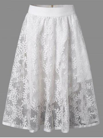 Discount Leaf Jacquard Openwork Lace Double-Deck Skirt