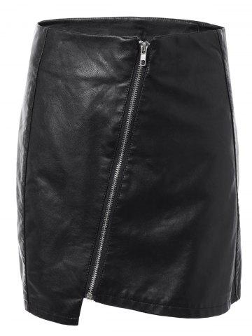 Online Faux Leather Zipper Asymmetric Skirt