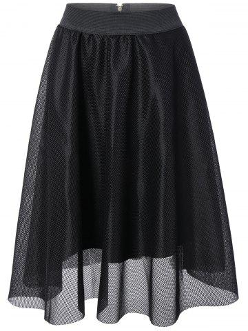 Unique Openwork Mesh Yarn Elastic Waist Skirt