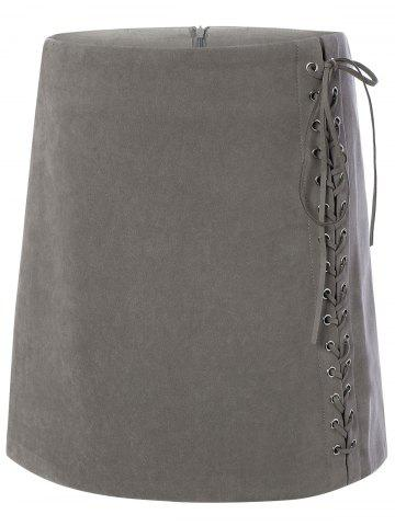 Shops Criss-Cross Lace-Up Zipper Skirt