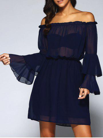 Store Off-The-Shoulder Layered Flare Sleeve Chiffon Dress