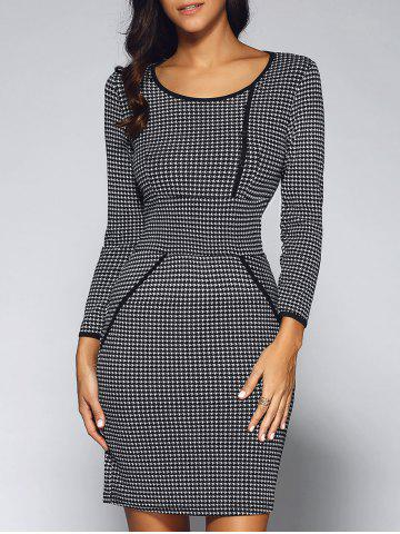 Cheap Houndstooth Long Sleeve Fitted Sheath Dress BLACK XL