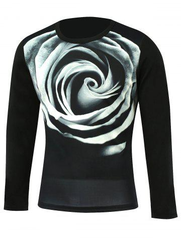 Online 3D Flower Print Round Neck Long Sleeve T-Shirt BLACK 5XL