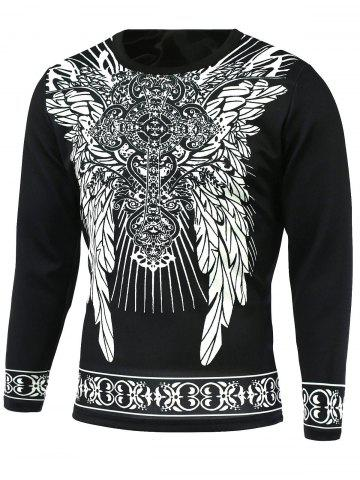 Fancy Ornate Print Round Neck Long Sleeve T-Shirt