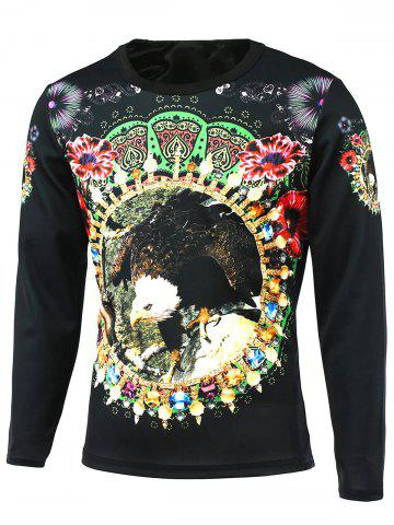 Fancy Round Neck Long Sleeve Floral 3D Bird Print T-Shirt BLACK 5XL