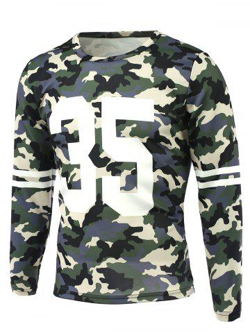 Unique Camo Number Print Round Neck Long Sleeve T-Shirt CAMOUFLAGE 5XL