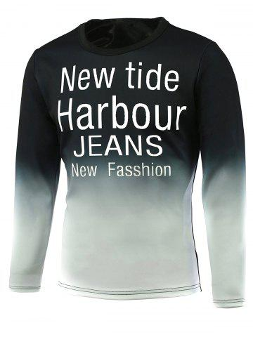 Fancy Ombre Letter Print Round Neck Long Sleeve T-Shirt