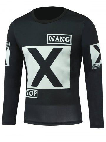 Outfit Letter Printed Round Neck Long Sleeve T-Shirt BLACK 5XL