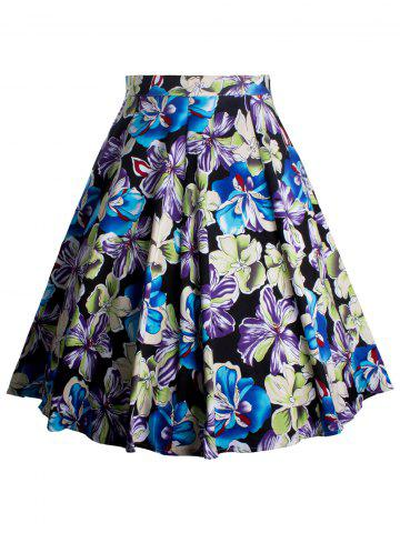 Fancy Floral Print Zippered A-Line Skirt