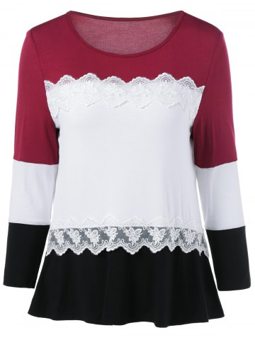 Outfit Lace Splicing Long Sleeves T-Shirt - XL COLORMIX Mobile