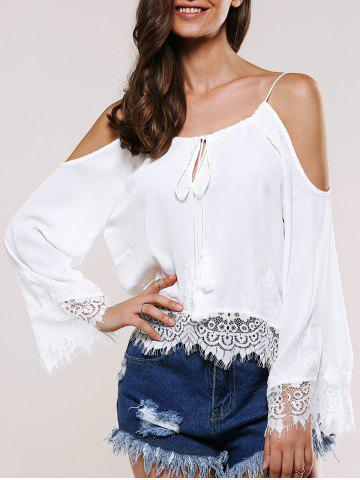 Outfit Lace Splicing Cold Shoulder Top