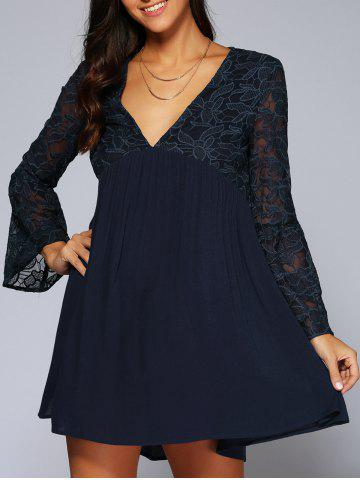 Best Lace Splicing Long Sleeves Dress