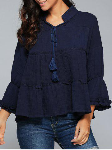 Best Long Sleeve Tie Neck A Line Blouse