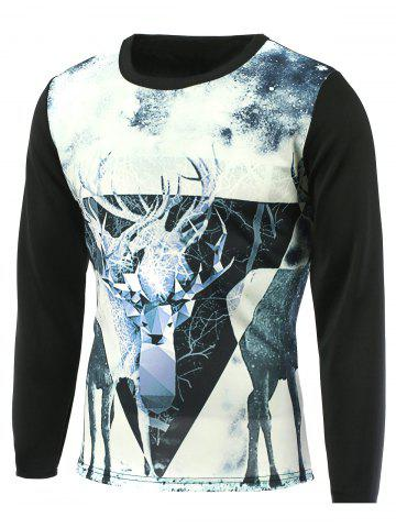 Chic Sika Deer 3D Printed Round Neck T-Shirt