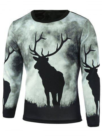 Shops Long Sleeve Sika Deer Printed T-Shirt BLACK 5XL