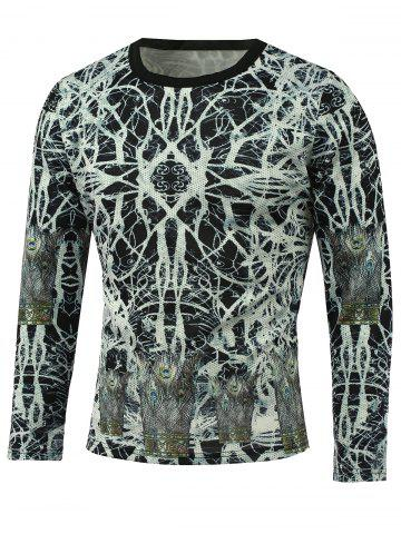 Shops Abstract Pattern Long Sleeve T-Shirt WHITE 5XL