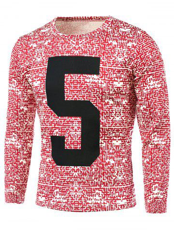 Store Number Pattern Abstract All Over Printed T-Shirt RED 5XL