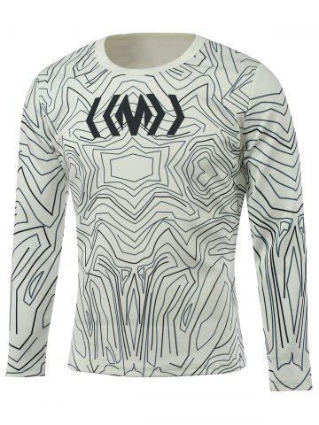 Store Long Sleeve All-Over Abstract Printed T-Shirt WHITE 5XL