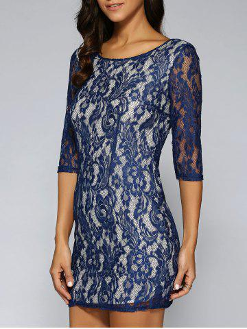 See-Through Lace Back Zipped Dress - Purplish Blue - S