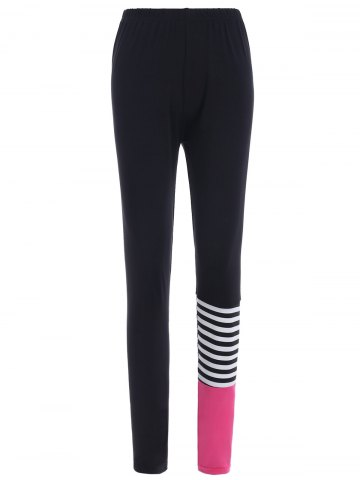 Latest Elastic Waist Striped Print Leggings