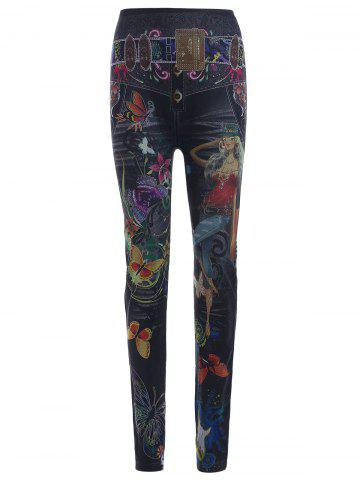 Discount High Waist Butterfly and Girl Print Leggings