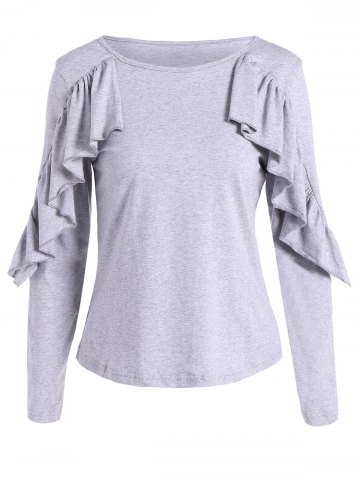 Unique Long Sleeves T-Shirt With Frill