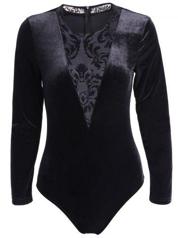 Unique Alluring Long Sleeve See-Through Lace Spliced Bodysuit For Women