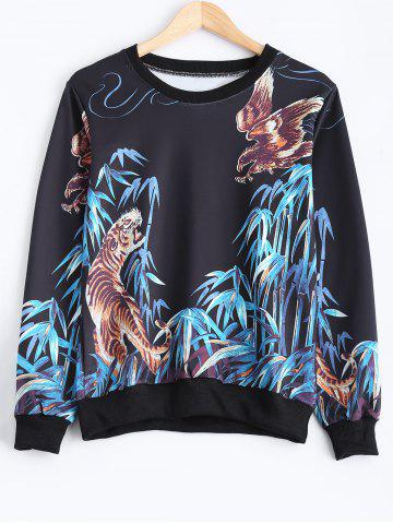 Discount Crew Neck Animal Print Sweatshirt
