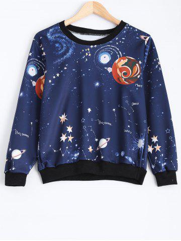 Outfits Crew Neck Galaxy Print Sweatshirt DEEP BLUE ONE SIZE