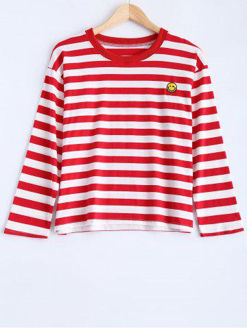 Affordable Striped Smile Face Graphic T-Shirt