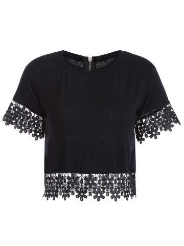Unique Jewel Neck Short Sleeve Crochet Flower Short T-Shirt