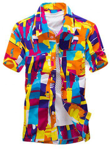 Latest Color Block Summer Button Down Hawaiian Shirt