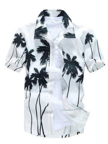 Short Sleeve Coconut Palm Printed Hawaiian Shirt - White - 2xl