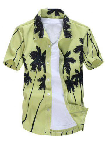 Fashion Short Sleeve Coconut Palm Printed Hawaiian Shirt