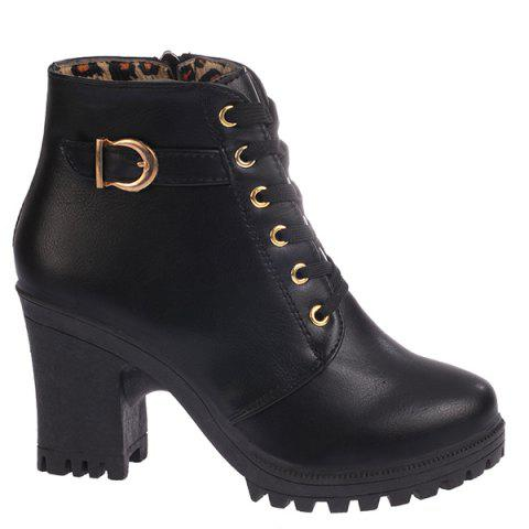 Zipper Belt Buckle Tie Up Ankle Boots - Black - 39